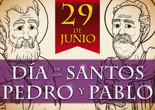 Commemorative Design for Solemnity of Saints Peter and Paul, Vector Illustration Stock Photos