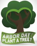 Commemorative Design with Tree and Ribbon Promoting Arbor Day Celebration, Vector Illustration. Tree with heart shaped foliage and branches behind greeting royalty free illustration