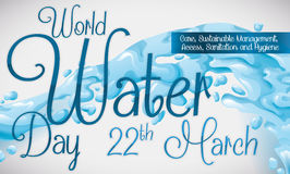 Commemorative Design with Water Splash for World Water Day, Vector Illustration Stock Photography