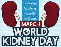 Commemorative Design for World Kidney Day Celebration, Vector Illustration. Commemorative poster for World Kidney Day celebration with some precepts in Stock Photos