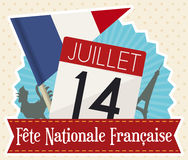Commemorative Elements for French National Day in Flat Style, Vector Illustration Stock Photos