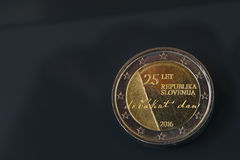 Commemorative 2 EUR coin celebrating 25 years of Slovenia`s inde Stock Photo
