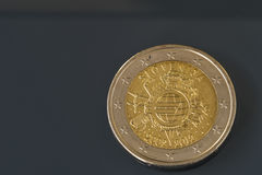 Commemorative 2 EUR coin 10 years of Euro currency Royalty Free Stock Photography