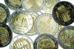 Commemorative 2 euro coins. Close-up of commemorative 2 euro coins stock photos