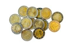 Commemorative 2 euro coins. Close-up of commemorative 2 euro coins royalty free stock photography