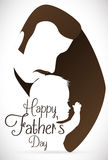 Commemorative Father's Day Silhouette of Dad Kissing his Baby, Vector Illustration. Proud dad kissing his newborn baby in commemorative sign for Father's Day in stock illustration