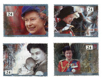 Commemorative Jubilee Stamps. Image of commemorative british postage stamps, marking the 40th anniversary of the accession of HM Queen Elizabeth. During 2012 Stock Photos