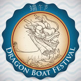 Commemorative Label for Duanwu Festival with Hand Drawn Dragon Boat, Vector Illustration Stock Photography