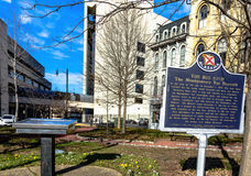 Commemorative Markers in Montgomery. Montgomery, Alabama, USA - January 28, 2017: Commemorative markers in downtown Montgomery honoring the Civil Rights Movement Royalty Free Stock Photo