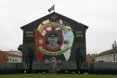 Commemorative mural of Stephen McKeag, Belfast. stock photo