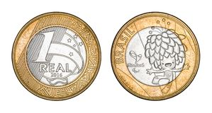 Commemorative `One Real` brazilian coin royalty free stock image