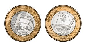 Commemorative `One Real` brazilian coin - Olympics games Rio 2016. With clipping path Royalty Free Stock Images