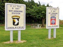 Commemorative panels for airborne divisions in Sainte Mere Eglise, Normandy. At the entrance of Sainte Mere Eglise town, in Normandy, two panels honor the memory stock photography