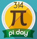Commemorative Pin for Pi Day Celebration in Flat Style, Vector Illustration. Commemorative pin with pi symbol and its numeric value in a yellow round circle with stock illustration