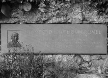 Commemorative plaque for Engineer Brunel in Bristol in black and white Royalty Free Stock Image