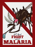 Commemorative Poster with Female Mosquito for Malaria Day, Vector Illustration Royalty Free Stock Photos