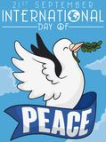 Flying Dove with Olive Branch and Ribbon for Peace Day, Vector Illustration Stock Photos
