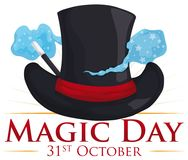 Top Hat with and Magical Mist for Magic Day, Vector Illustration. Commemorative poster for Magic Day with elegant top hat and some magical mist around it comming Royalty Free Stock Images