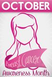 Promotional Design with Woman and Ribbon for Breast Cancer Month, Vector Illustration Stock Images