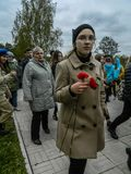 A commemorative rally as part of the reconstruction of the battle of World war 2 near Moscow. Stock Image