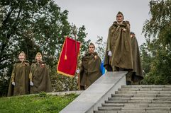 A commemorative rally as part of the reconstruction of the battle of World war 2 near Moscow. Royalty Free Stock Photo
