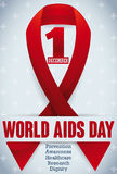 Commemorative Red Ribbon with Cross Pattern for World AIDS Day, Vector Illustration. Poster with modest red ribbon, date and some precepts for World AIDS Day in Stock Images