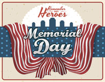 Commemorative Retro Design for Memorial Day, Vector Illustration Royalty Free Stock Photos