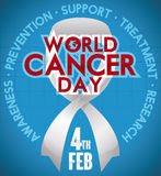 Commemorative Ribbon Symbolizing the Fight Against Cancer in February 4, Vector Illustration. Poster with white ribbon and some precepts around it commemorating Royalty Free Stock Photos