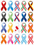 Commemorative ribbons, coloured and with flags Royalty Free Stock Images