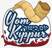 Commemorative Sign Liberating of Sins with Shofar in Yom Kippur, Vector Illustration Royalty Free Stock Photos