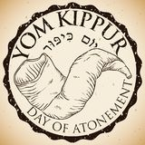 Commemorative Stamp with Hand Drawn Shofar Horn for Yom Kippur, Vector Illustration Stock Photos