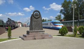 Commemorative stela in honor of the Heroes of Railwayman Royalty Free Stock Photos