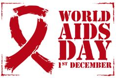 Commemorative Stencil with Red Ribbon for World AIDS Day, Vector Illustration. Commemorative stencil design with the symbolic red ribbon and reminder date for Royalty Free Stock Images