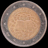 Commemorative two euro coin issued by Belgium in 2007 for the anniversary of the Treaty of Rome. A commemorative circulated two euro coin issued by Belgium in Royalty Free Stock Image