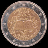 Commemorative two euro coin issued by France in 2007 for the anniversary of the Treaty of Rome Royalty Free Stock Photography