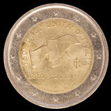 Commemorative two euro coin issued by Italy in 2011 and celebrat Royalty Free Stock Photography