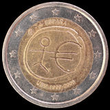 Commemorative two euro coin issued by Spain in 2009 for the anniversary of Economic and Monetary Union. A commemorative circulated two euro coin issued by Spain Stock Images