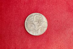Commemorative USSR coin one ruble dedicated to Soviet writer Maxim Gorky. Commemorative USSR coin one ruble in memory to Soviet writer Maxim Gorky Stock Photography