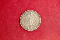 Commemorative USSR coin one ruble  in memory of 60th anniversary of the October revolution. Commemorative USSR coin one ruble dedicated to 60th anniversary of Royalty Free Stock Image