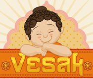 Commemorative Vesak Card with Baby Buddha, Vector Illustration Royalty Free Stock Images