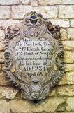 Wall plaque in Malmesbury Abbey, Wiltshire. Commemorative wall plaque in Malmesbury Abbey, Wiltshire Royalty Free Stock Photo