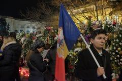 Commemorazione di re Mihai a Royal Palace a Bucarest, Romania Fotografie Stock Libere da Diritti