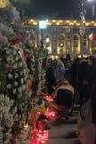 Commemorazione di re Mihai a Royal Palace a Bucarest, Romania Fotografia Stock Libera da Diritti