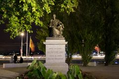 Geneva/switzerland-29.08.18 : Statue of jean jacques rousseau phylosopher stock photography