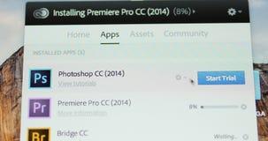 Commencer le mode de procès d'Adobe Photoshop banque de vidéos