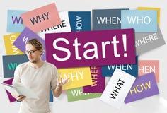 Commencez à commencer le concept de démarrage de motivation de lancement en avant images stock