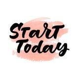 Commencez aujourd'hui le lettrage artistique de main Illustration de vecteur Photographie stock
