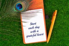 Commencez chaque jour avec un coeur reconnaissant Photo stock