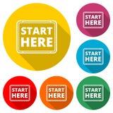 Commencez ici le signe, commencez ici l'icône, début ici boutonnent, colorent l'icône avec la longue ombre Image libre de droits