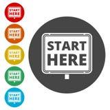 Commencez ici le signe, commencez ici l'icône, mettez en marche ici le bouton illustration libre de droits